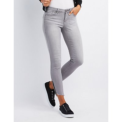 Zipper-Trim Low Rise Skinny Jeans