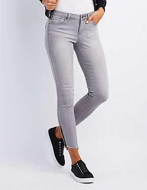 Zipper-Trim Low Rise Skinny Jeans