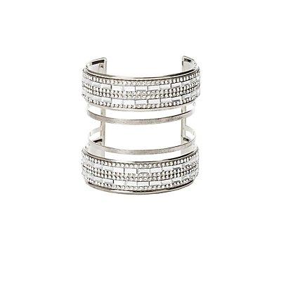 Plus Size Rhinestone Caged Cuff Bracelet
