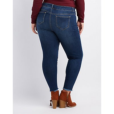 Plus Size Embroidered Destroyed Skinny Jeans