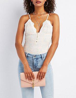 Cross-Dye Lace Bodysuit