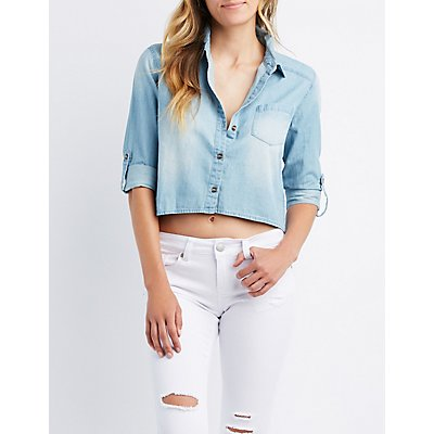 Chambray Cropped Button-Up Shirt