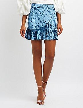 Velvet Ruffle-Trim Skirt