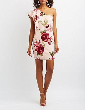 Floral Ruffle One-Shoulder Dress