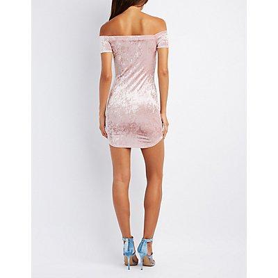 Velvet Off-The-Shoulder Bodycon Dress