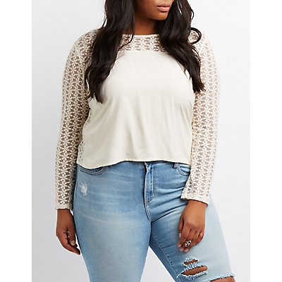 Plus Size Lace Combo Top