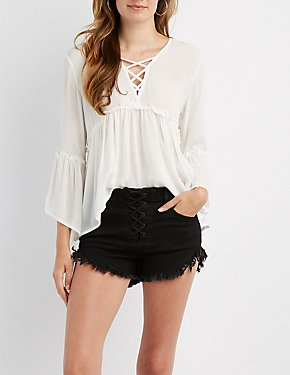 Lattice-Front Babydoll Blouse