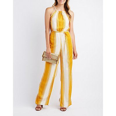Striped Bib Neck Jumpsuit