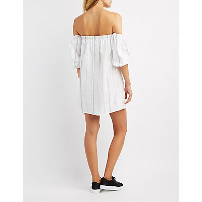 Striped Off-The-Shoulder Shift Dress