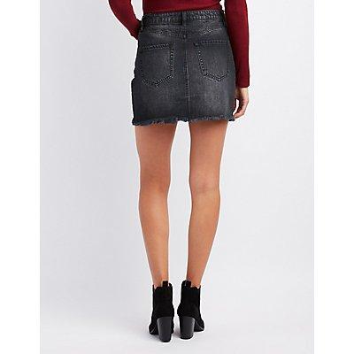 Refuge Destroyed Denim Mini Skirt