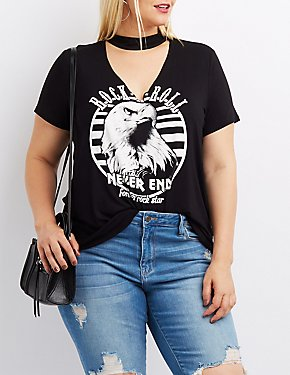 Plus Size Rock & Roll Choker Neck Graphic Tee