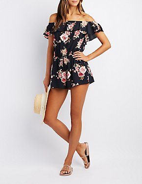 Floral Ruffle Off-The-Shoulder Romper