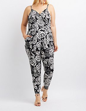 Plus Size Floral Surplice Jumpsuit