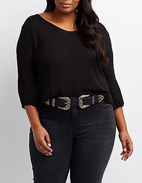 Plus Size Lace Yoke Gauze Top