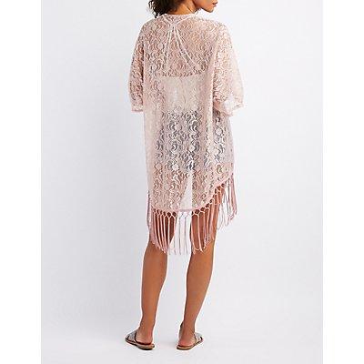 Lace Fringe-Hem Kimono