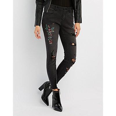 Refuge Embroidered Destroyed Skinny Jeans