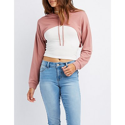 Distressed Open Cropped Hoodie