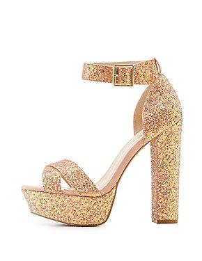 Qupid Glitter Two-Piece Platform Sandals