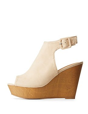Qupid Slingback Wedge Sandals