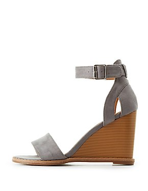 Qupid Two-Piece Wedge Sandals