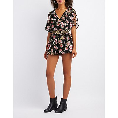 Floral Surplice Lattice-Trim Romper