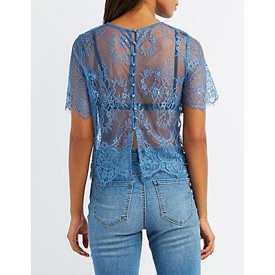 Eyelash Lace Button-Back Top