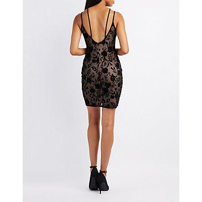 Flocked Strappy Bodycon Dress