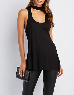 Ribbed Mock Neck Cut-Out Tank Top
