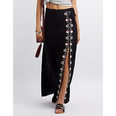 Embroidered Side Slit Maxi Skirt