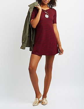 Striped Ribbed Swing Dress