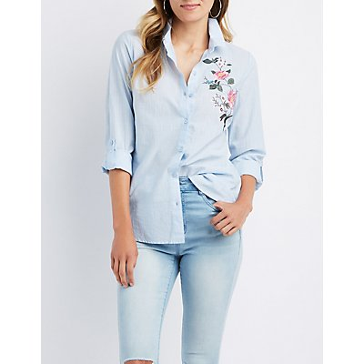 Embroidered Pinstripe Button-Up Shirt