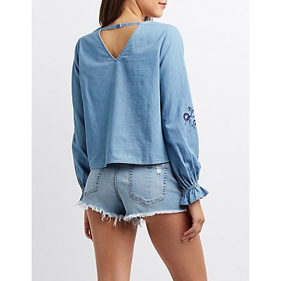 Embroidered Open-Back Chambray Top