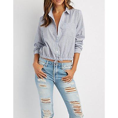 Striped Button-Up Drawstring Shirt