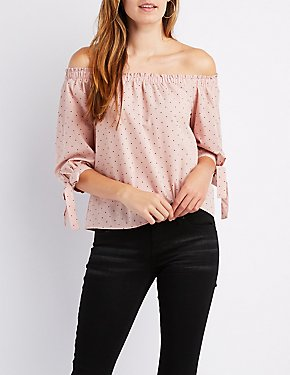 Polka Dot Off-The-Shoulder Tie-Sleeve Top