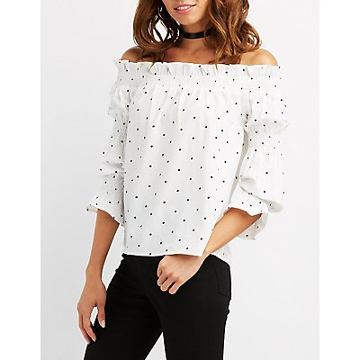 Polka DotOff-The-Shoulder Top