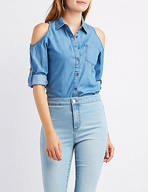 Chambray Cold Shoulder Button-Up Shirt