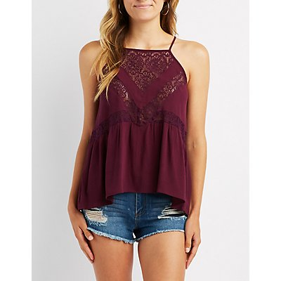 Lace Inset Keyhole Top