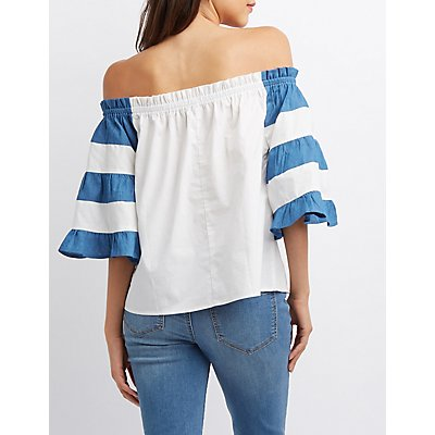 Chambray & Poplin Off-The-Shoulder Top