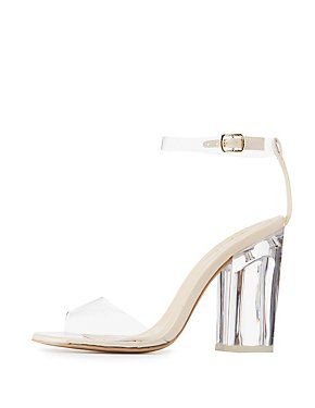 Qupid Clear Two-Piece Sandals