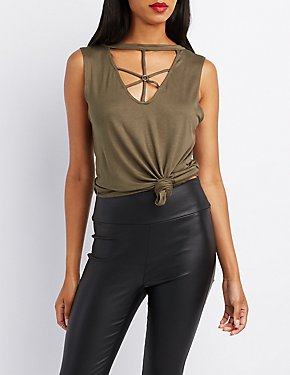 Strappy Caged O-Ring Tank Top