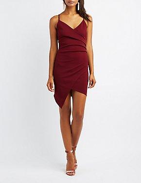 Asymmetrical Bodycon Wrap Dress