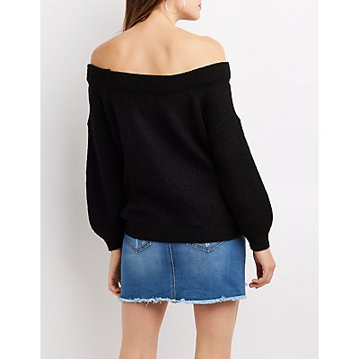 Shaker Stitch Off-The-Shoulder Balloon Sleeve Sweater