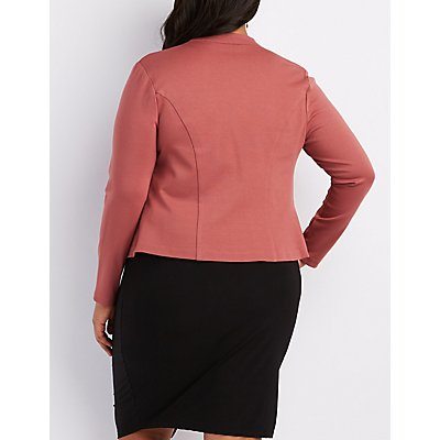 Plus Size Zipper-Trim Blazer