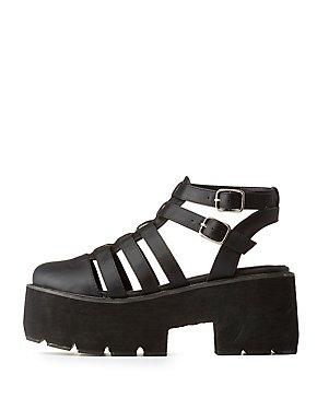 Qupid Huarache Flatform Sandals