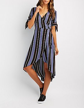 Striped Tie-Sleeve Wrap Dress