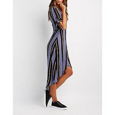 Striped Tie-Sleeve Wrap Dress