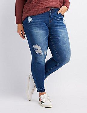 Plus Size Released Hem Destroyed Skinny Jeans