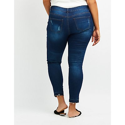 Plus Size Destroyed Mid-Rise Skinny Jeans