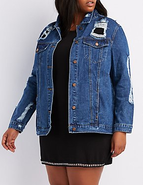 Plus Size Mesh-Trim Destroyed Denim Jacket