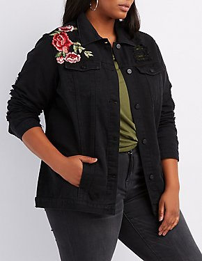 Plus Size Embroidered Destroyed Oversized Denim Jacket